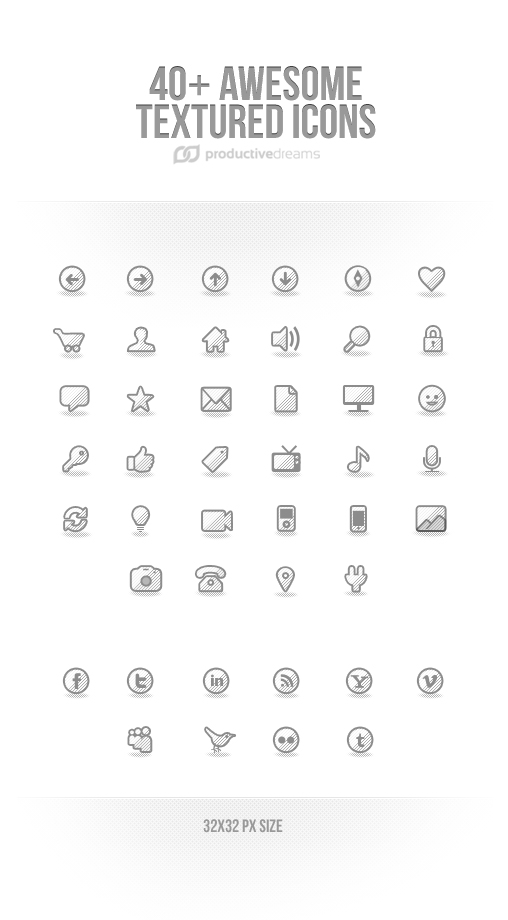Awesome icons with striped texture